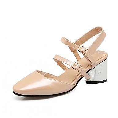 pwne Tacones Mujer Verano Otoño Comfort Novedad Charol Sintético Pu Oficina Boda &Amp; Carrera Paseos Ocasionales Chunky Heel Lace-Upred Beige US2.5 / EU34 / UK1.5 Little Kids