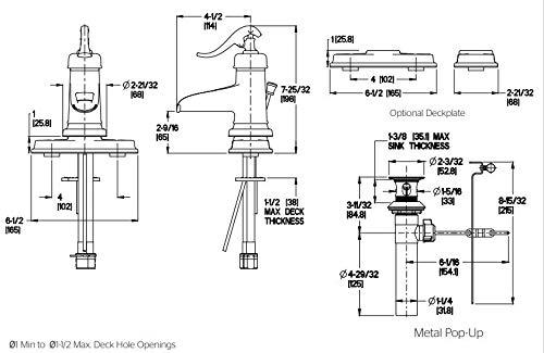 Pfister LG42YP0U Ashfield Single Control 4 Centerset Bathroom Faucet in Rustic Bronze