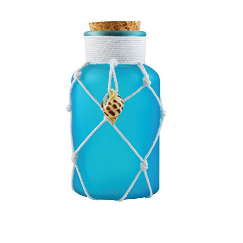Decorative Glass Jar with Cork Stopper - Apothecary Jars - Food Storage Cannisters - Decorative Centerpieces - Home Decor Accents and Message in a Bottle Gift (Blue) -  Rockin Gear