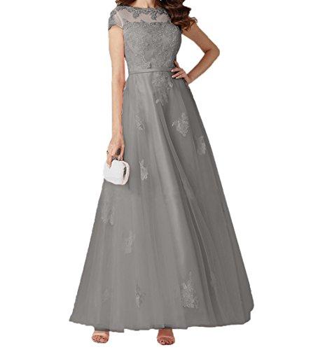 Linie Abendkleider Promkleider Spitze Grau Romantisch Lang A Damen Brautmutterkleider Rock Abschlussballkleider Charmant Kurzarm qf44p