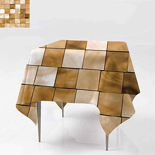 Diycon Dust-Proof Tablecloth Beige Faded Tiles Wood Cubes Squares Geometric Inspired Modern Simple Urban Boho Art Decorative Brown and Durable W70 xL82