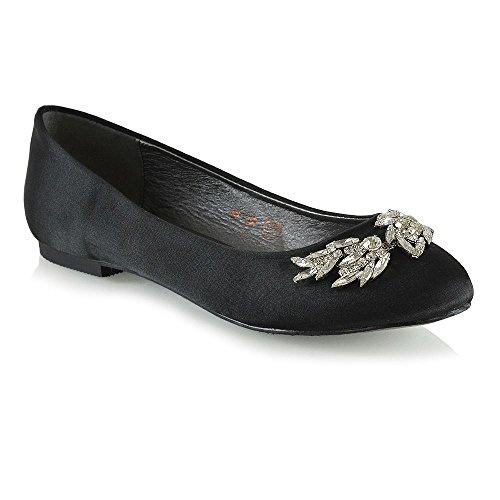 ESSEX GLAM Mujer Ponerse Nupcial Zapatos Señoras Satín Diamante Bailarina Zapatos Negro Satín