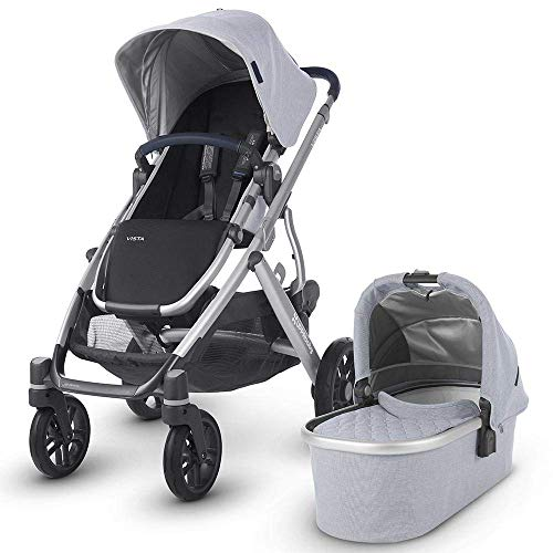 UPPAbaby Vista Stroller – William (Chambray Oxford/Silver/Navy Leather)