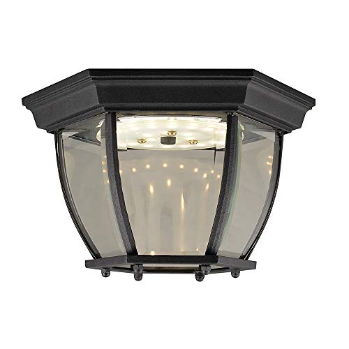 Design House 578518 Canterbury II LED Outdoor Ceiling Light, Clear Beveled Glass, Black
