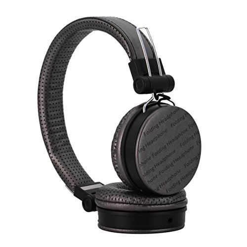 Shengpute Foldable Headphones with Microphone Noise Isolating Headsets for Iphone ,Wired Over Ear Headphone Earphones (Iron Grey)