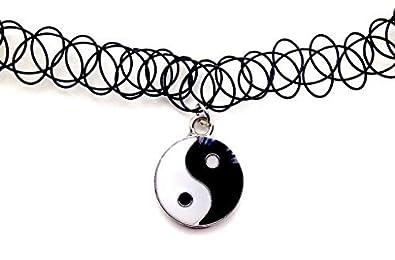 Yin Yang Colgante Collar de Gargantilla de tatuaje elástico negro ...