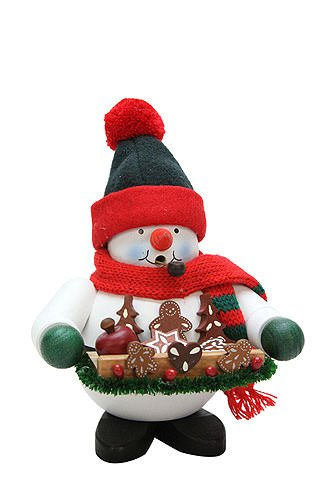 German Incense Smokers Gingerbread Snowman - 17,5cm / 7 inch - Christian Ulbricht by Authentic German Erzgebirge Handcraft