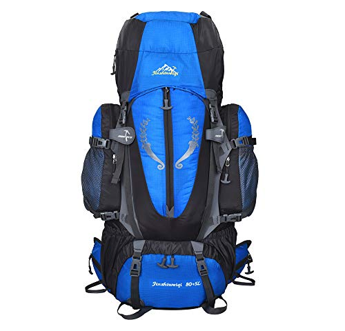 OWMEOT 85L Internal Frame Hiking Backpack for Women and Men with Waterproof Rain Cover Climbing Backpack fit Outdoor Travel Mountaineering Camping (Blue)