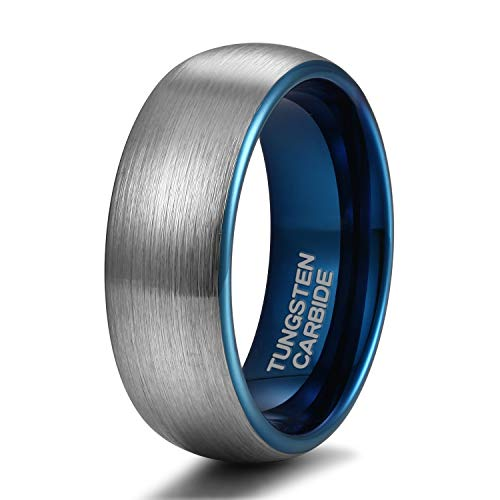 Shuremaster 8mm Tungsten Carbide Wedding Ring Band for Him and Her Silver Blue Two Tone Brushed Comfort Fit Size 7.5 ()