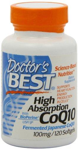 Meilleures forte absorption Coq10 w / BioPerine (100 mg), 120 capsules molles du médecin