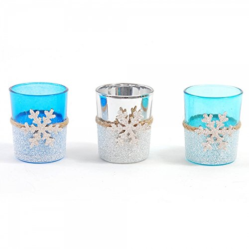 FLOMO Winter Snowflake Votive Holders (3 Pack) votive candle holder, candle holders, bulk candle holders, voltives candle, tealight candle holder (Votive Snowflake)