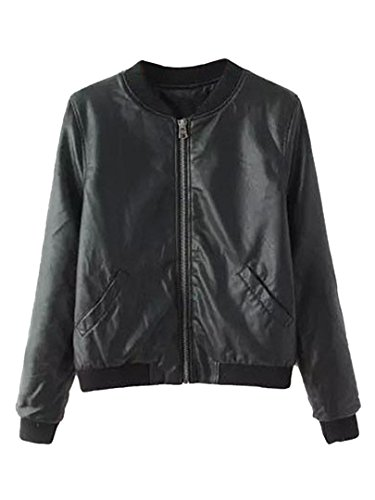 Persun Womens Leather Sleeve Bomber product image