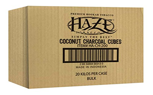 HAZE CUBE COCONUT CHARCOAL SUPPLIES FOR HOOKAHS – 72pc (1kg) or 1440pc (20kg) Non-quick light shisha coals for hookah pipes. All-natural coal accessories that are Tasteless, Odorless, & Chemic (1440) by Haze