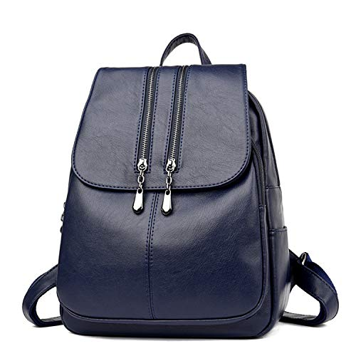 New Laptop Backpack Women Leather Luxury Backpack Satchel School Bag Blue