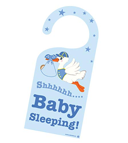- Cute News Baby Boy Sleeping Door Hanger - Do not Knock Baby Hanger - Please be Quiet Announcement - Do not Disturb Door Sign
