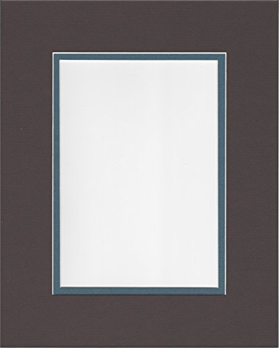 (18x24 Chocolate Brown and Slate Blue Double Picture Mat, Bevel Cut for 12x18 Picture or Photo)