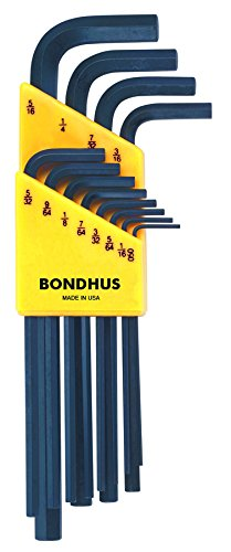 Bondhus 12136 Set of 12 Hex L-wrenches, Long Length, sizes .050-5/16-Inch