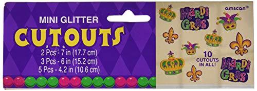 Amscan 193117 Mini Glitter Cutouts Party Decoration, One Size, Multicolor -