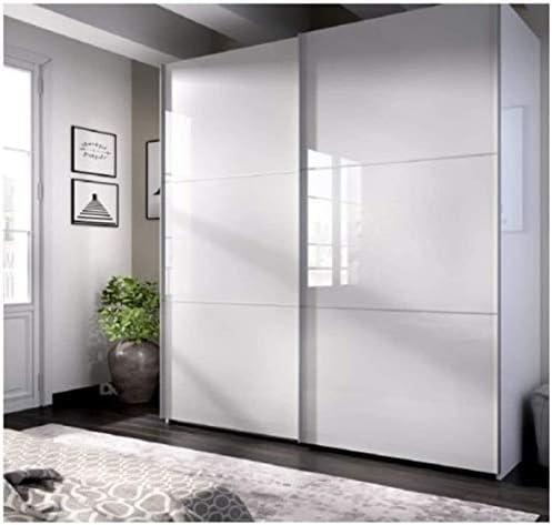 DECOR NATUR-Armario DE Puertas CORREDERAS Modelo Slide Color Blanco Brillo-Medidas: Ancho: 180 cm Alto: 204 cm Fondo: 65 cm (180_x210_cm): Amazon.es: Hogar