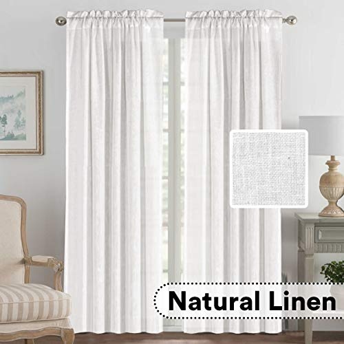 H.VERSAILTEX White Linen Curtains Pair Set Functional Open Weave Curtain Highly Durable Rod Pocket Extra Long Drapes for Living Room, Privacy Assured (52x108 - Inch, White)