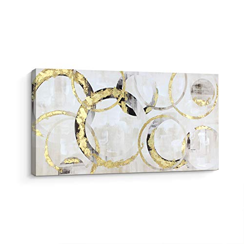 Pi Art Trendy Canvas Wall Art with Gold Foil Interlaced Circles, Abstract Wall Painting American Modern Home Wall Decor (20x40 Inch, Stretched on Wood) (Canvas Gold Art)