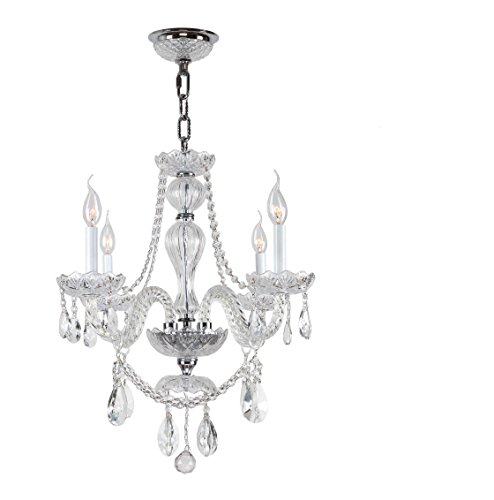 Worldwide Lighting Provence Collection 4 Light Chrome Finish and Clear Crystal Chandelier 23