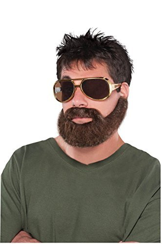 Fake Beard And Mustache (Wacky Facial Hair Hungover Beard/Moustache Costume Accessory, Self Adhesive, 1 piece)