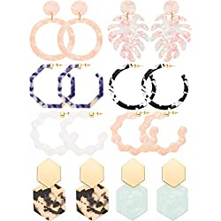 8 Pairs Mottled Acrylic Hoop Earrings Resin Statement Drop Dangle Earrings Polygonal Bohemian Fashion Jewelry Earrings for Women Girls (Style C)