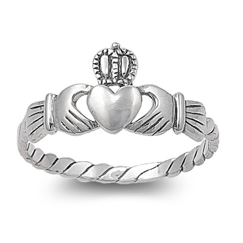 Sterling Silver 9mm Claddagh Heart Ring (Size 3 - 10) - Size 5