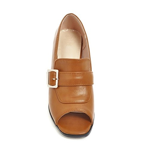 Brown Peep Pumps FANIMILA Toe Women qgIOw4