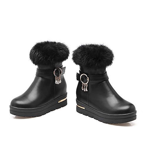 Kitten Boots Closed Allhqfashion Black Heels Toe top Low PU Round Women's Zipper BwBHfq1Z