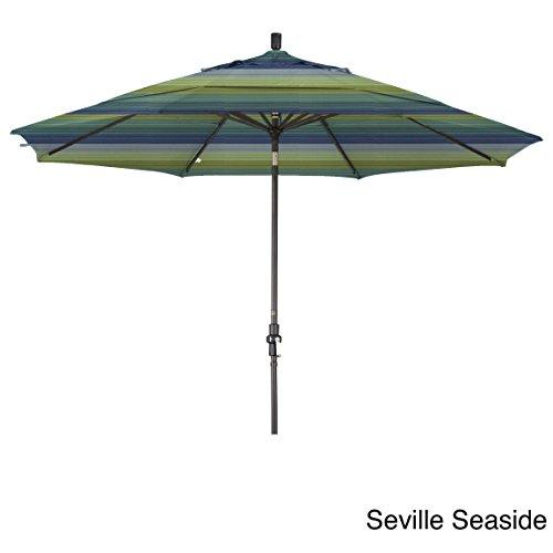 California Umbrella 11' Round Aluminum Market Umbrella, Crank Lift, Collar Tilt, Bronze Pole, Sunbrella Seville Seaside