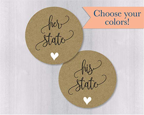 His State Her State Wedding Stickers, Kraft Wedding Favor Stickers, Wedding Favor Bag Sticker (#471-1-KR)