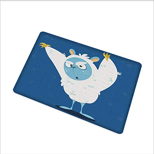 Waterproof Door Mat, Wild Scary Yeti Costume for Halloween with Fluffy Fur Fantastic Cartoon Monster, Environmental Protection Fabric with Durable Non-Slip, W79 x H55 INCH, Multicolor