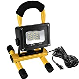 LEDGLE 1900LM 20W LED Work Light (160W Equivalent), Waterproof LED Flood Lights, 16ft/5M Cord with Plug, Adjustable Angle,Stand Industrial Working Light for Workshop, Construction Site, 6000K Daylight