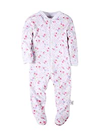 Baby Girls' Footed Pajama - Zip Front 100% Cotton Floral Sleeper 18 Months Sleep and Play