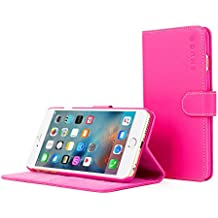 iPhone 6 Plus and 6S Plus Case, Snugg Hot Pink Leather Flip Case [Card Slots] Executive Apple iPhone 6 Plus and 6S Plus Wallet Case Cover and Stand - Legacy Series