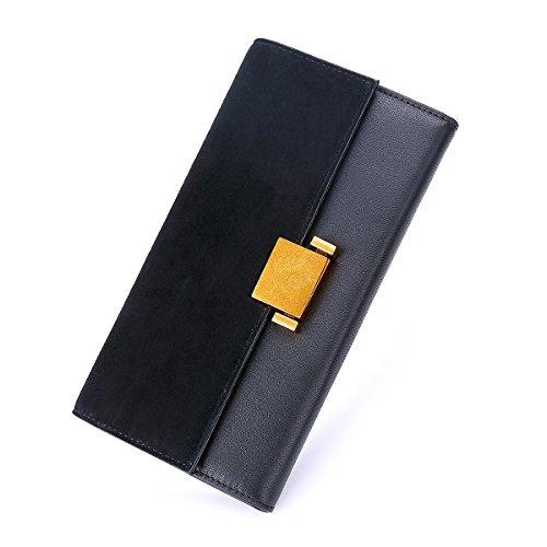 Doris&Jacky Women Luxury Genuine Leather Wallet Long Multi Card Organizer Clutch Bags (Black)