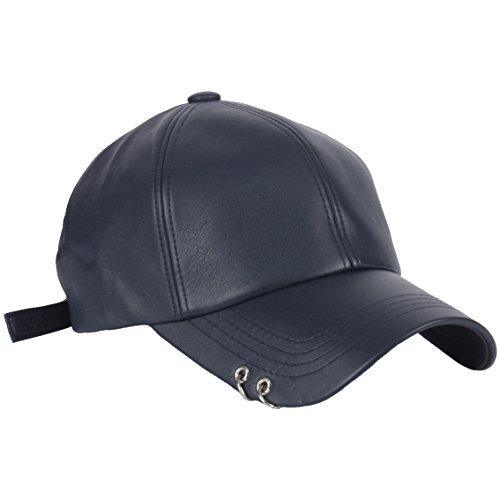 RaOn B165 Punk Silver Ring Piercing Rock Faux Leather Ball Cap Baseball Hat Truckers (Navy)