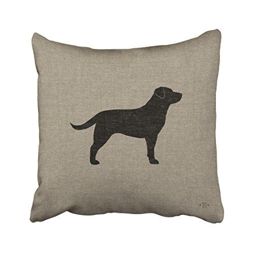Emvency Throw Pillow Covers Black Labrador Silhouette Faux Style Decor Pillowcases Polyester 18 X 18 Inch Square Hidden Zipper Home Cushion Decorative Pillowcase -