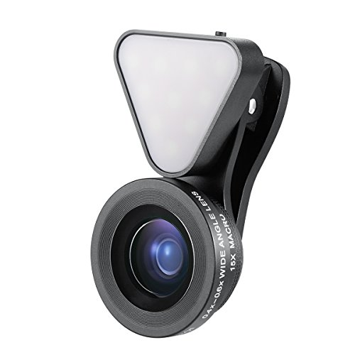 Amir 2 in 1 Cell Phone Lens with Beauty LED Flash Light, 15X Macro Lens & 0.4X - 0.6X Wide Angle Lens, 3 Adjustable Brightness Fill Light, for iPhone 7, 6s, 6, 5s & Most Smartphones