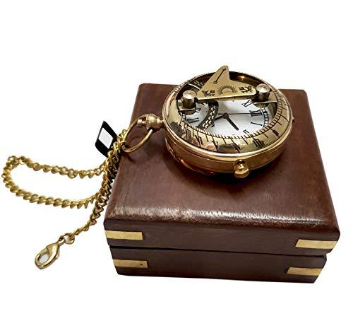 Nautical Maritime Brass Sundial Clock Push Button Chain Functional Handmade Roman Watch Solid Wooden Box ()
