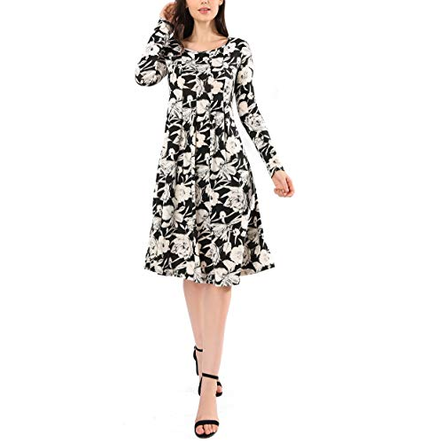 Midi Dress Swing Flare Women's AVTOSRNO Casual Black Elastic Wrinkle 2 Floral Loose Print Sleeve Long 1TzTwcRqv4