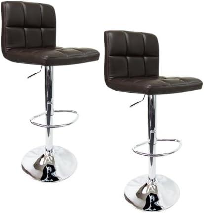 Apontus PU Leather Swivel Hydraulic Bar Stool with Back Cushion, Set of 2, Dark Brown