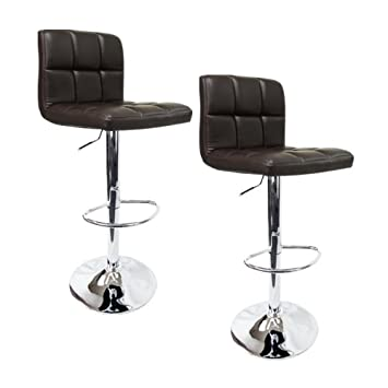 Apontus PU Leather Swivel Hydraulic Bar Stool with Back Cushion, Set of 2, Dark Brown