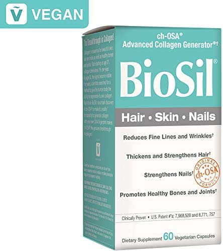 BioSil by Natural Factors, Hair, Skin, Nails, Supports Healthy Growth and Strength, Vegan Collagen, Elastin and Keratin Generator, 60 Capsules (60 Servings)