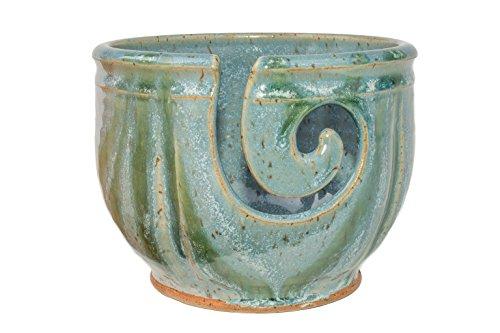 Midnight Sun Pottery Yarn Bowl - Glacier with Green (Midnight Blue Knitting Yarn)