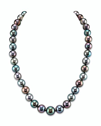 THE PEARL SOURCE 14K Gold 9-11mm Round Genuine Multicolor Tahitian South Sea Cultured Pearl Necklace in 17