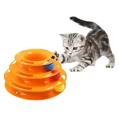 ZYZ New Safer Bar Design, Interactive Cat Ball Toy, Exerciser Game, Teaser, Anti-Slip, Active Healthy Lifestyle, Suitable for Multiple Cats