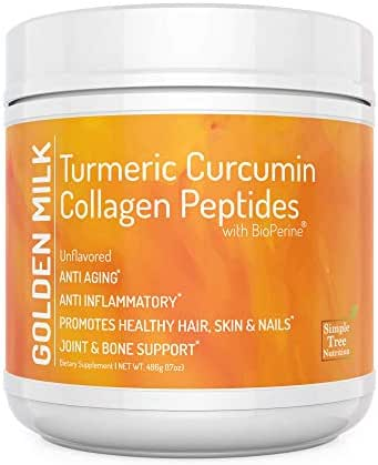 Unflavored Golden Milk Superfood with Turmeric Root Extract 95% Curcuminoids and Hydrolized Collagen (Peptides) with Black Pepper Fruit Extract (BioPerine) in Combination with Vitamin C, (486g)